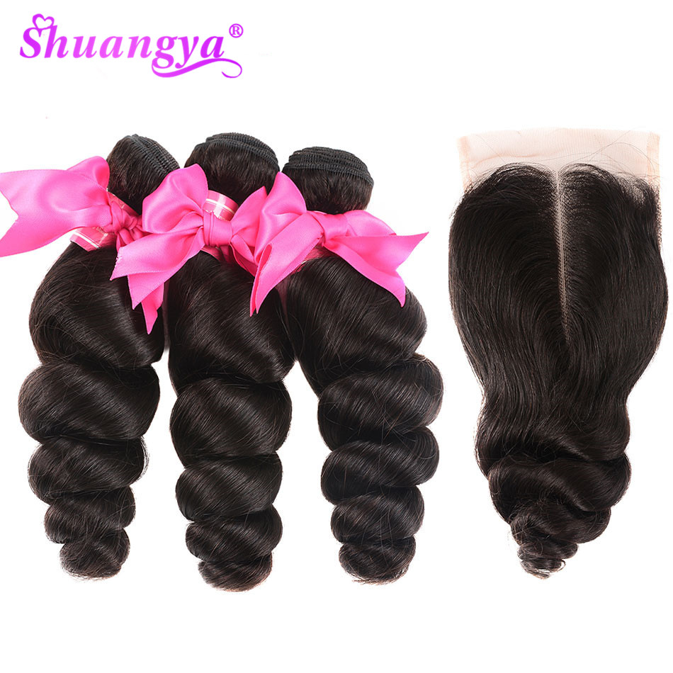 Shuangya Hair Indian Loose Wave Bundles With Closure Remy Hair 100% Human Hair Bundles With Closure 3 Bundles With Closure