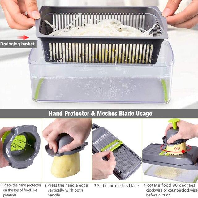 vegetable cutter multifunctional Mandoline Slicer Fruit  Potato Peeler Carrot Grater Kitchen accessories basket vegetable slicer 5