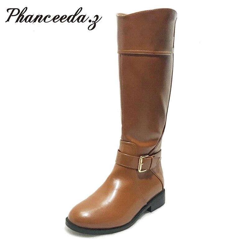 2019 mujeres Otoño Invierno zapatos botas hasta la rodilla punta redonda mantener caliente PU cuero resistente al agua cremallera botas de montar botas-in Botas por la rodilla from zapatos    1
