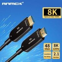 Anmck אופטי סיבי HDMI כבל 2.1 2.0 Ultra HD תמיכה 8K 120Hz 4K 60Hz 48Gbps עם אודיו & Ethernet HDMI כבל 5M 10M 15M 20M-בכבלי HDMI מתוך מוצרי אלקטרוניקה לצרכנים באתר