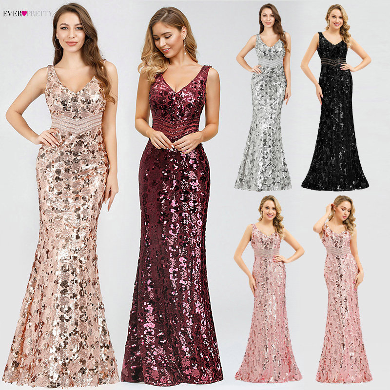 Sexy Sequined Evening Dresses Long Ever Pretty Double V-Neck Sleeveless Sparkle Mermaid Party Gowns Vestidos Elegantes 2020