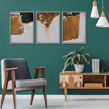 Drop Shipping 3 Piece Abstract Golden Brown Black Color Block Print Poster Canvas Painting Wall Art Picture Living Room Decor printed abstract graphics psychedelic nebula space painting canvas print decor print poster picture canvas free shipping ny 5746