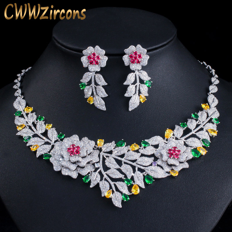CWWZircons High Quality African Nigerican Cubic Zirconia Big Rose Flower Wedding Necklace Earring Luxury Bridal Jewelry Set T385 on AliExpress