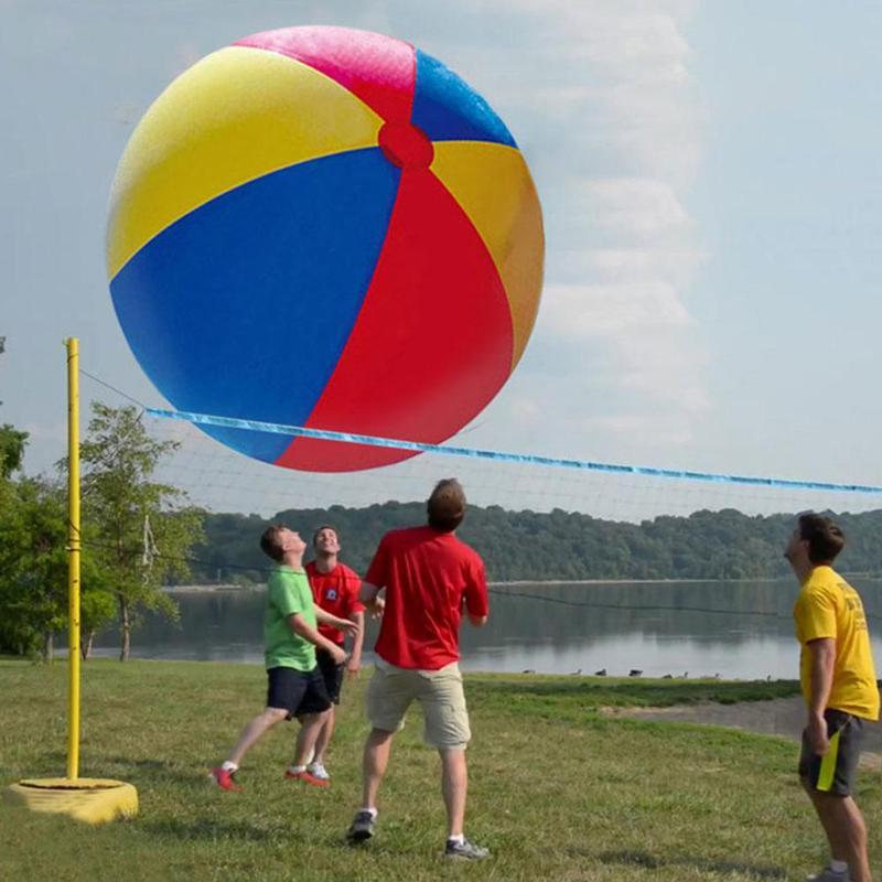 Bola de praia inflável grande três-cor pvc