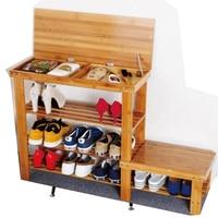 Bamboo shoe cabinet flip storage can sit s bench simple  rack garden door stool