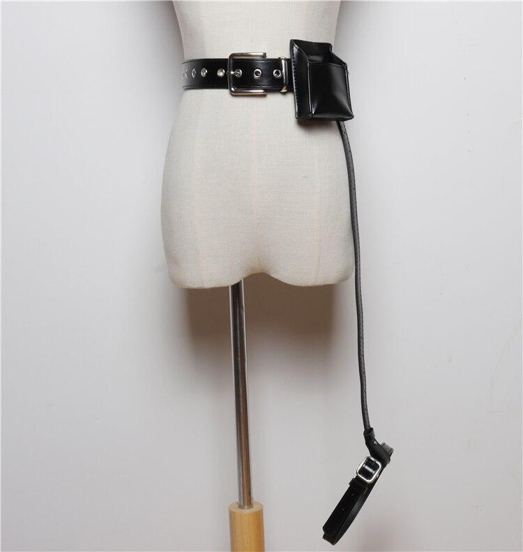 2019 Women Fashion Punk Gothic PU Leather Garter Belt Cincher Cage Harness Adjustable Waist Belt Leg Garter WIth Waist Bag