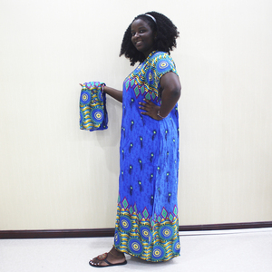 Image 3 - Dashikiage Peacock Feather Print Dress African Dashiki Plus Size Short Sleeve Casual Blue Dresses With Sarf