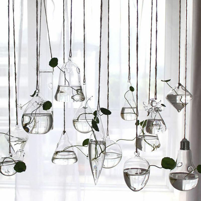 Home Garden Hanging Glass Ball Vase Flower Plant Pot Terrarium Container Party Wedding Decor Creative Hanging Decoration
