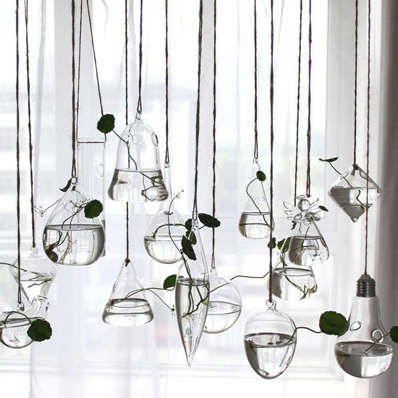 Home Garden Hanging Glass Ball Vase Flower Plant Pot Terrarium Container Party Wedding Decor Creative Hanging Decoration|Flower Pots & Planters| |  -