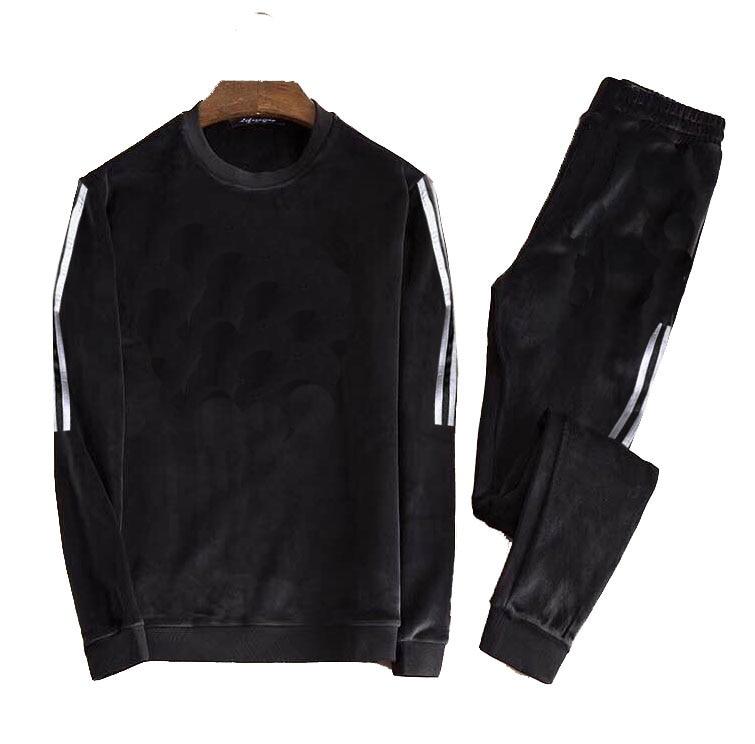 Men's Velour Velvet Sport Sweatshirt Tracksuit Track Suit Outwear 2PC Jacket Coat Pants Trousers Sets Outfits 3 Strips