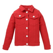 High quality Autumn Winter Casual Fashion Baby Solid Color Long Sleeve Jacket Kids Denim Outerwear 1pcs