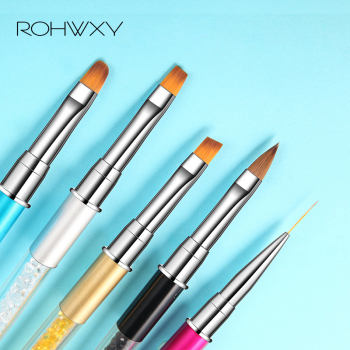 ROHWXY Nail Art Brush Rhinestone Acrylic Pen Carving Nails Tips Painting Poly Gel Tool Liner French Manicure Accessories Design