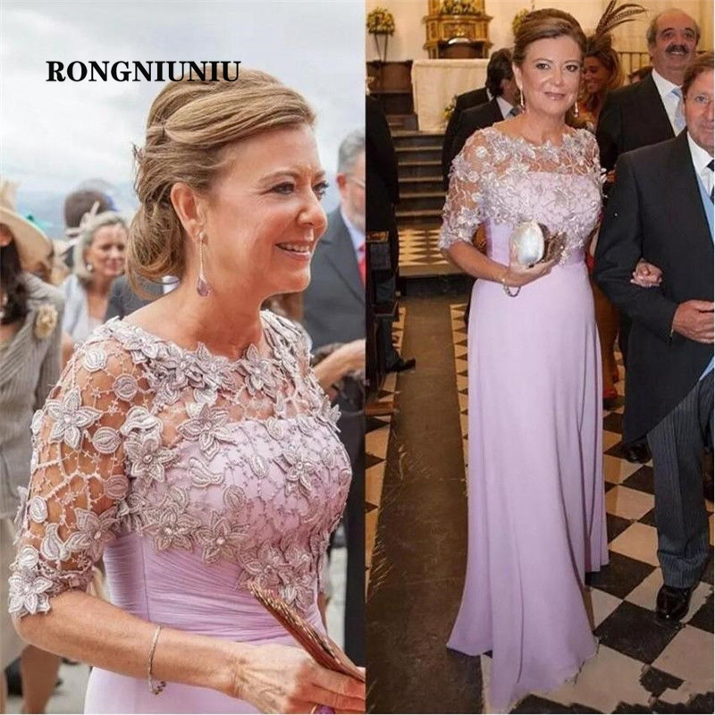 Lilac Mother Of Bride Dress With Jacket Half Sleeves Formal Evening Dress Vestido De Madrinha Special Occasion Gown