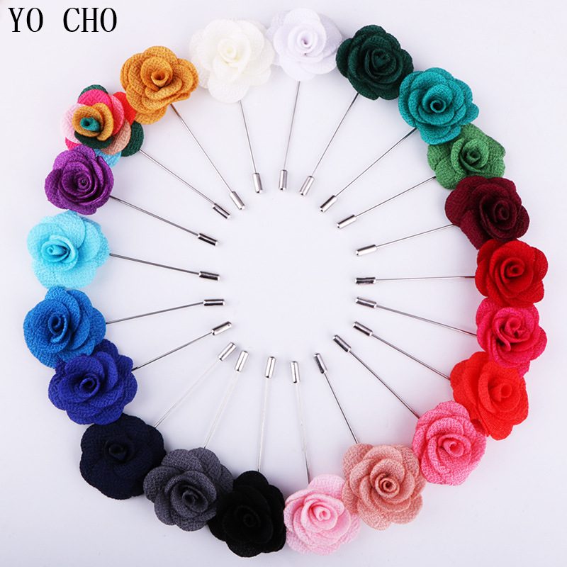 YO CHO Wedding Silk Boutonniere Groom Brooch Pins Buttonhole Groomsmen Boutonniere Artificial Rose Flower Prom Party Accessories