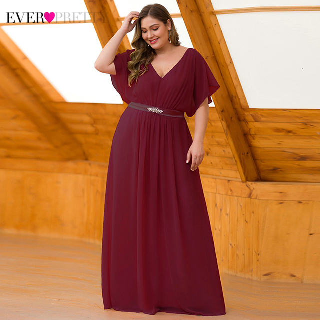Plus Size Evening Dresses Long Ever Pretty Beaded A-Line V-Neck Short Sleeve Sexy Chiffon Formal Dresses Vestido Comprido 2019