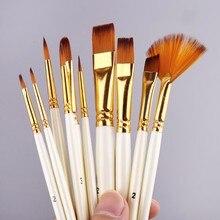 10 pçs cabelo náilon punho de madeira pintura em aquarela pincel caneta conjunto diy óleo acrílico pintura da arte pincéis dropship