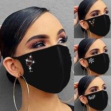 Mulher reutilizável furadeira ao ar livre respirável moda gelo à prova de vento máscara carta e-lement strass padrão máscara de algodão dustproof