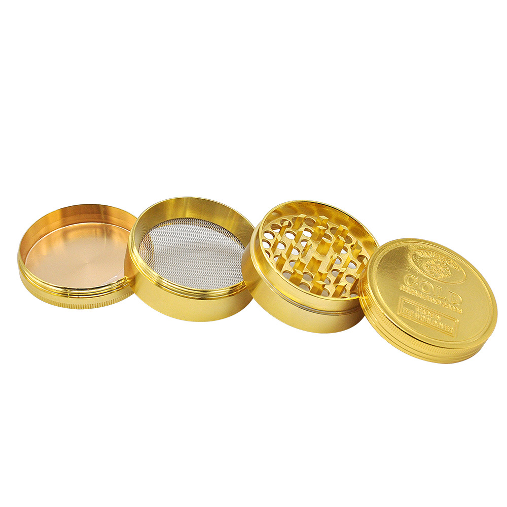 2 Size Available 4 Layers Dia.36mm/43mm Gold Zinc Alloy Metal Herb Grinder spice/tobacco Crusher Tobacco Spice Hand Muller 4