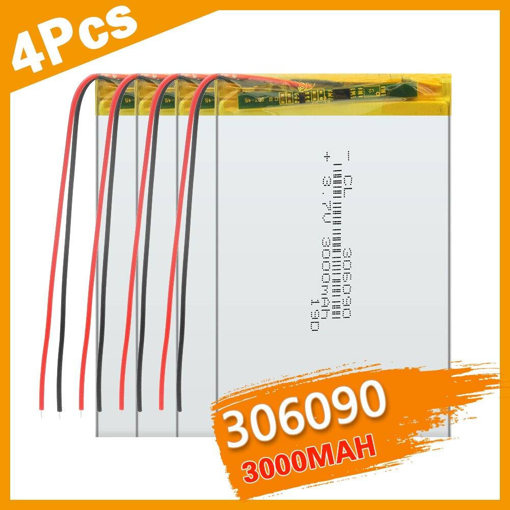 1/2/3/4 шт. 3,7 V 306291 литиевый полимер батареи 306090, содержащий 3000 мА-ч для 7-дюймовый планшетный ПК MP4 GPS Оборудование для PSP Универсальный Батарея