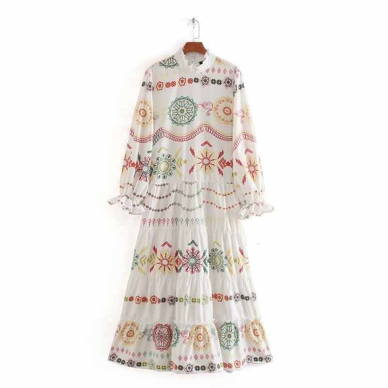 New Women elegant ruffled collar geometric flower printing casual long dress Ladies flare sleeve casual chic maxi Dresses DS3405