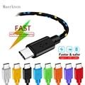 2.4A Maerknon USB Тип C кабель для быстрой зарядки и передачи данных 1m/2m/3M для Xiaomi samsing Huawei P20 Pro Телефон зарядное устройство аксессуар кабель с разъем...