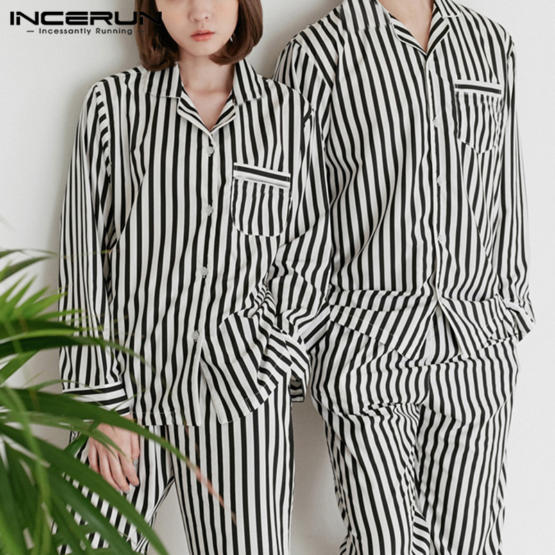 INCERUN 2020 Couple Pajamas Sets Striped Men Long Sleeve Lapel Tops Pants Fashion Nightwear Homewear Ladies Sleepwear Sets S-5XL