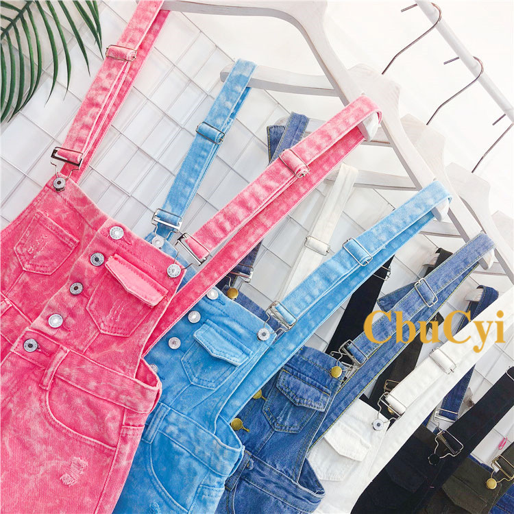 Denim Bibs Schoolgirl 2018 Spring New Loose Korean Thin Thin hole Flashes Fringe Shorts (2)