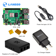 official Raspberry Pi 4 Model B-4GB/2GB RAM Kit Genuine Pi 4 ABS slidable case +EU Type-C 5V/3A power line and charger+ heatsink