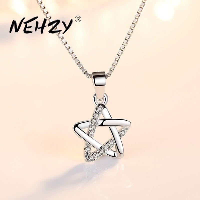 Collar NEHZY de Plata de Ley 925 con colgante de estrella simple retro de circonita de cristal de alta calidad 45CM
