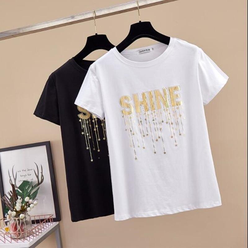 Fat Sister Large Size Short-sleeved T-shirt Loose 200 Kg 2019 Summer New Women's Clothing Plus Fertilizer To Increase Half-sleev
