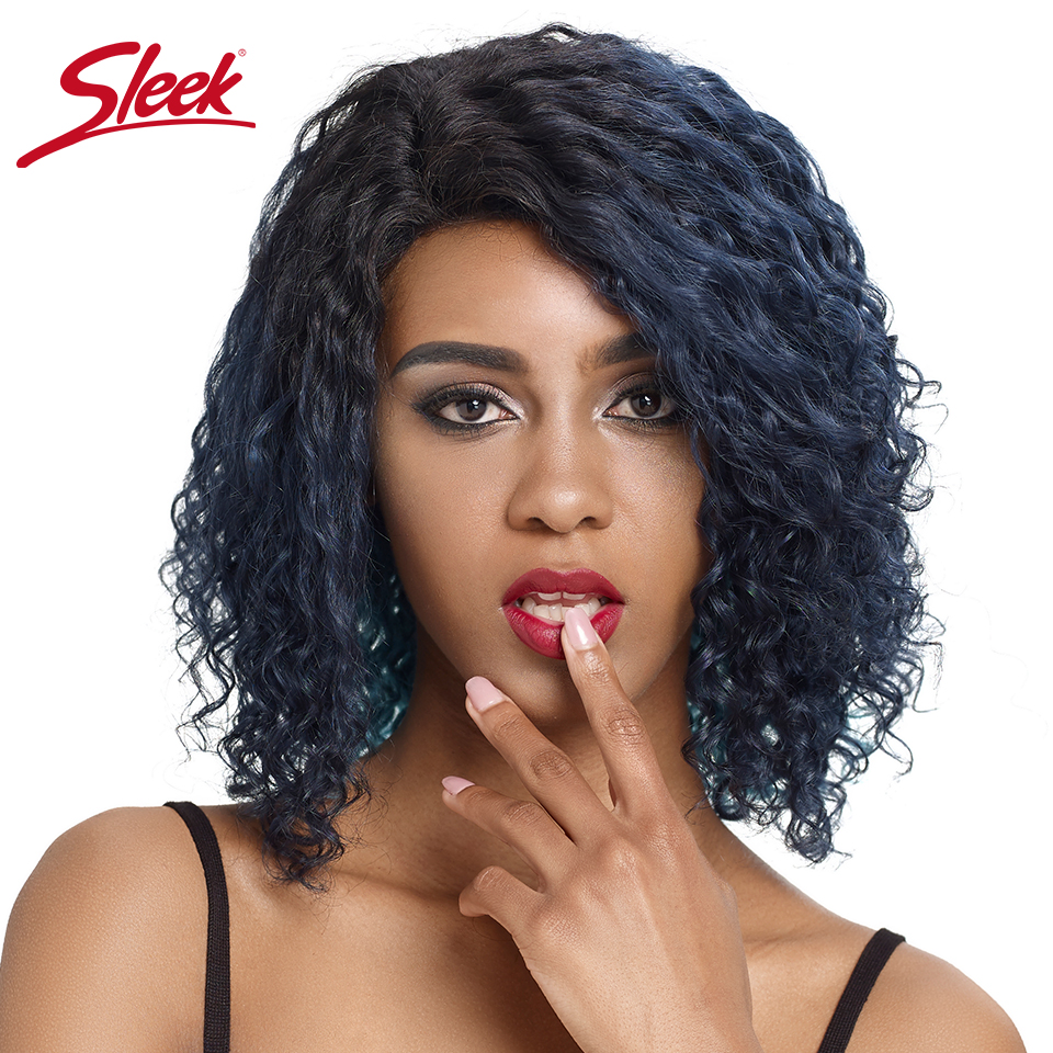 Sleek Curly Human Hair Wig For Women Water Wave Short Lace Wigs Remy Brazilian Hair Wigs Blue Highlight Colored Human Hair Wigs