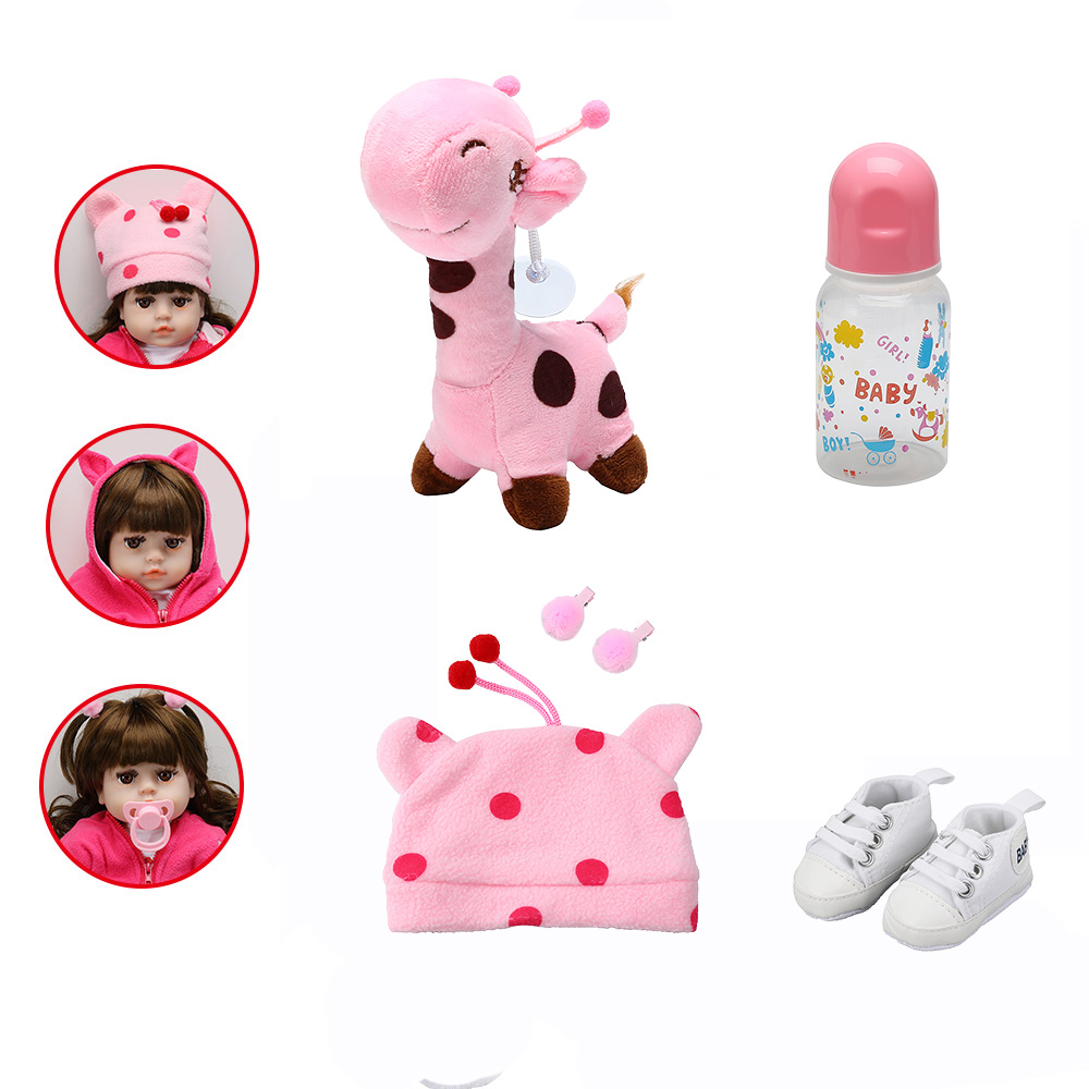 Fashion Doll Accessories Fit For 48CM Baby Doll Pacifier Bottle Hat Shoes Deer Toy Suit Reborn Baby Doll Accessories