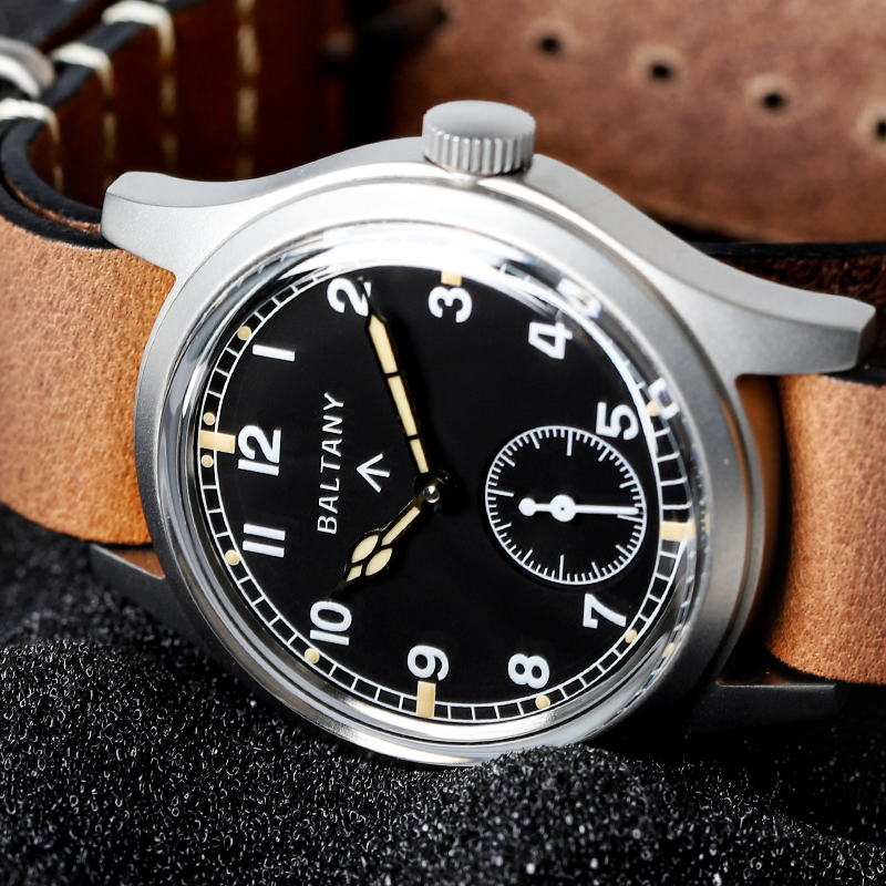 Baltany Retro Automatic Watch Men Small Seconds ST1701 Subsecond Hand Mechanical Vintage Wristwatches Leather Strap 10Bar 2