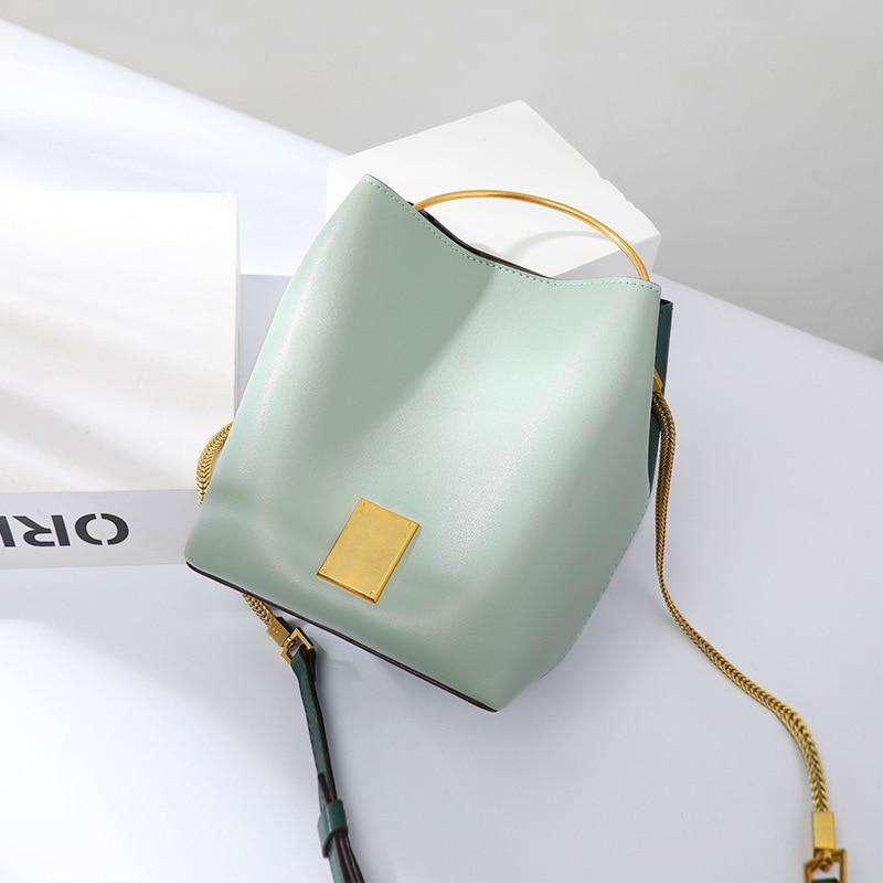 Chain Leather Bucket Bag Woman New Fashion Handbag Single Shoulder Oblique Satchel Bag