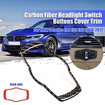 NEW Carbon Fiber Headlight Switch Buttons Cover Trim for BMW 3 series E90 E92 E93 2008-2012 image