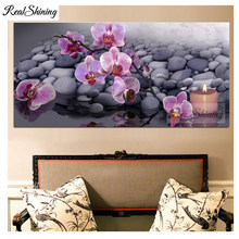orchid stones candle zen 3d Embroidery DIY Diamond Painting Cross Stitch full square/round Diamond Mosaic 5d large decor F101