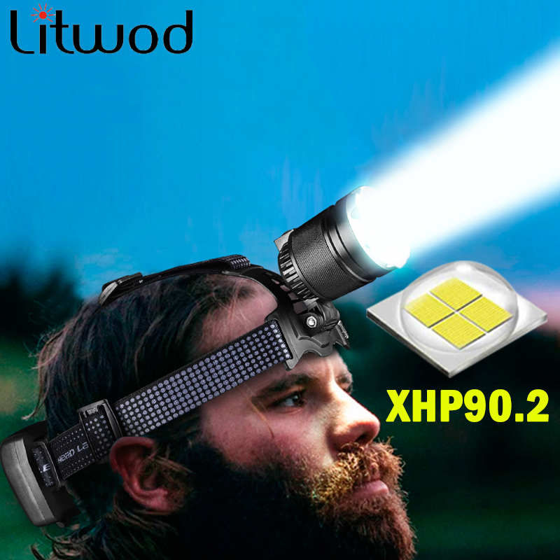 Most Powerful XHP90.2 Led Headlamp Built Cooling Fun Headlight Lamp Head Comping Flashlight Torch Zoom 18650 Rchargeable Battery