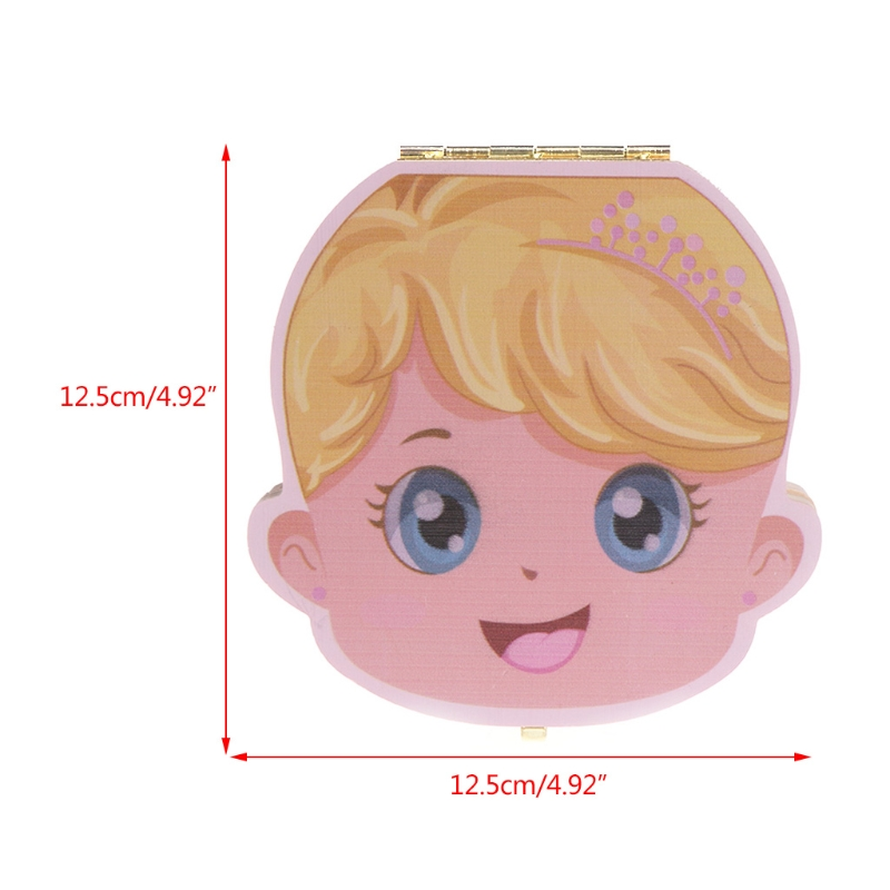 Tooth Box Organizer Kids Baby Save Milk Teeth Wood Storage Box For Boy Girl Gift E65D