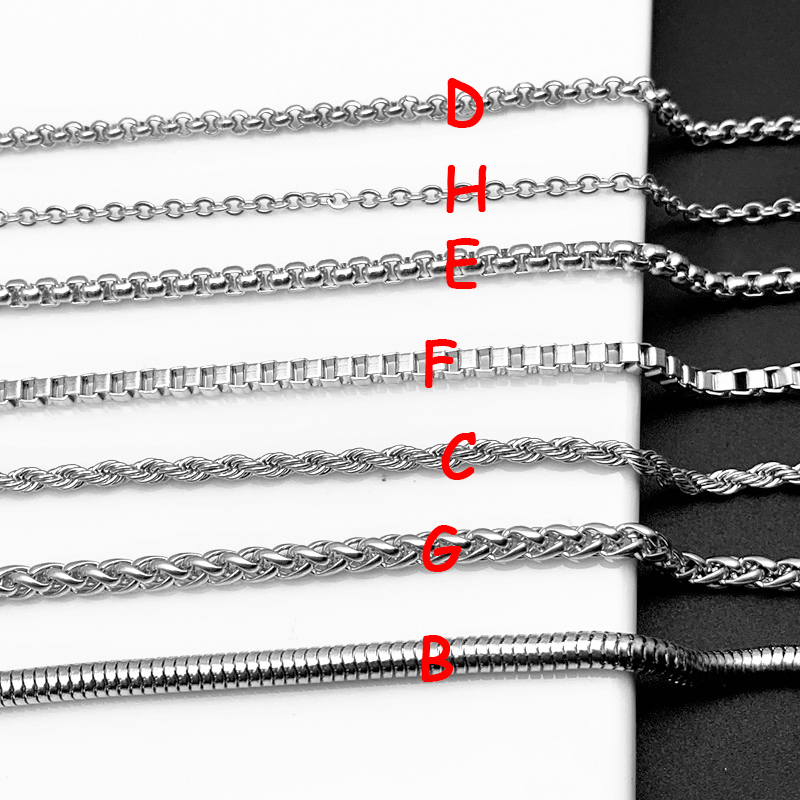 60cm Outdoor Titanium Stainless Steel Chain Necklace Men Link Chains Hanging Curb Twist Rolo Chain Necklace Security Protection