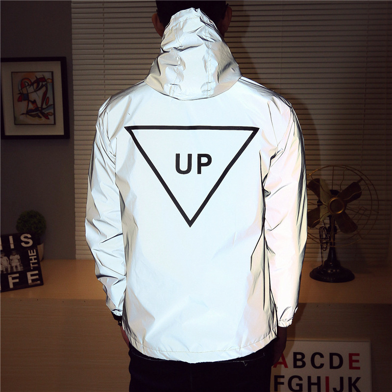 Reflective Jacket Men Clown Casual Hiphop Inverted Triangle UP Windbreaker Couple Night Coat Hooded Fluorescent Clothing