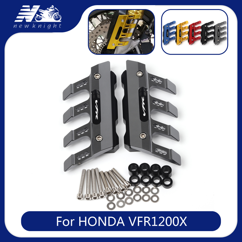 With Logo For HONDA VFR1200X Motorcycle CNC Aluminum mudguard side protection block front fender anti-fall slider Accessories