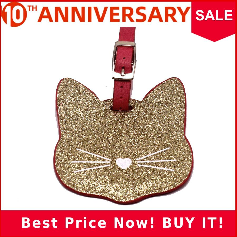 Zoukane Leather Suitcase Luggage Tag Cat Label Bag Pendant Handbag Travel Accessories Name ID Address Tags LT24