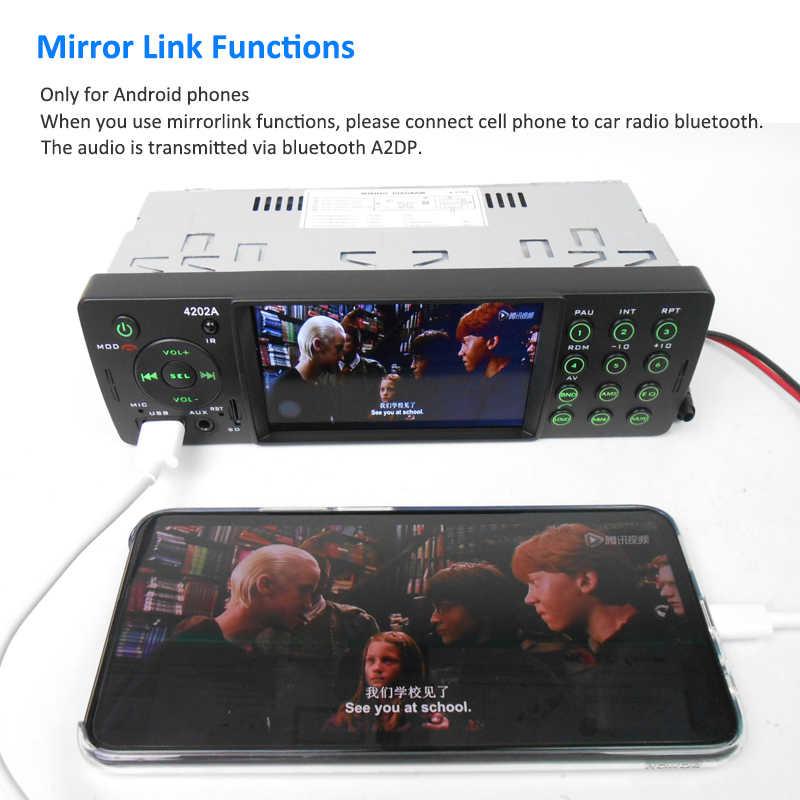 4インチミラーリンクカーラジオ1 Din BluetoothオートラジオMP5ビデオプレーヤーMP3 USB TF AuxリモートヘッドユニットPHYEE 4202A