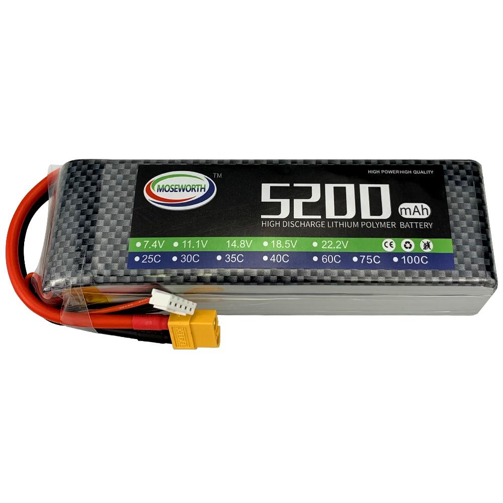MOSEWORTH 4S 14.8V 5200mAh 75C Max 150C RC LiPo batterie pour hélicoptère avion quadrirotor avion voiture 4S Batteries