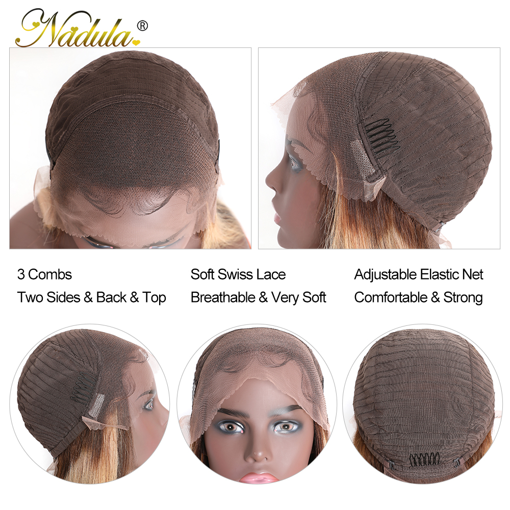 Nadula Hair Straight Lace Front  Wigs 13x4 Ombre Honey Blonde Straight Hair Wigs for Black Women Pre plucked  Hair 6