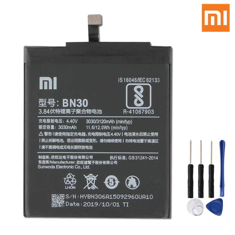 Xiao Mi Original BN30 Battery For Xiaomi Redmi Hongmi 4A Redrice 4A BN30 Genuine Replacement Phone Battery 3120mAh + Free Tools