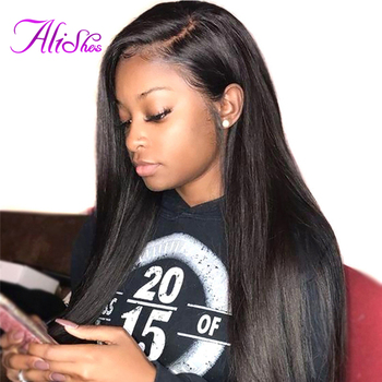 Alishes 10-24 Inch Human Hair Straight Lace Front Wig For Women 150% Density Pre Plucked Brazilian Remy Hair Wigs With Baby Hair