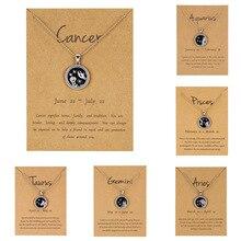 12 Constellation Pendant Necklace For Women Zodiac Sign Aquarius Leo Libra Aries Wish Card Fashion Jewelry Birthday Gifts