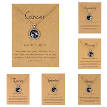 12 Constellation Pendant Necklace For Women Zodiac Sign Aquarius Leo Libra Aries Wish Card Fashion Jewelry Birthday Gifts(China)