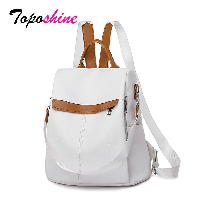 Toposhine Anti-theft Women Backpacks High Quality Women Bags Hot Fashion Ladies Backpack Girls School Bag Popular White Bags